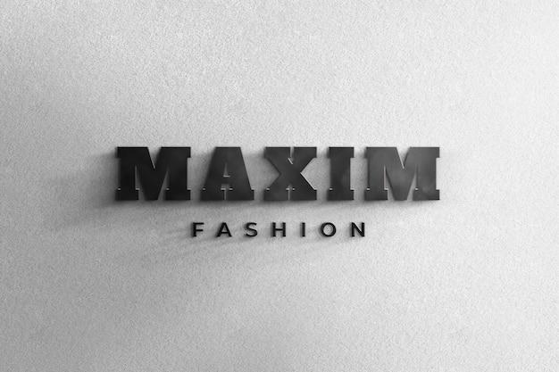 3d, réaliste, logo noir, maquette, signe, mur blanc