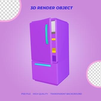 3d render icon réfrigérateur à deux portes