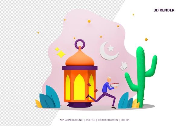 3d render iftar manger après le jeûne concept de partie.