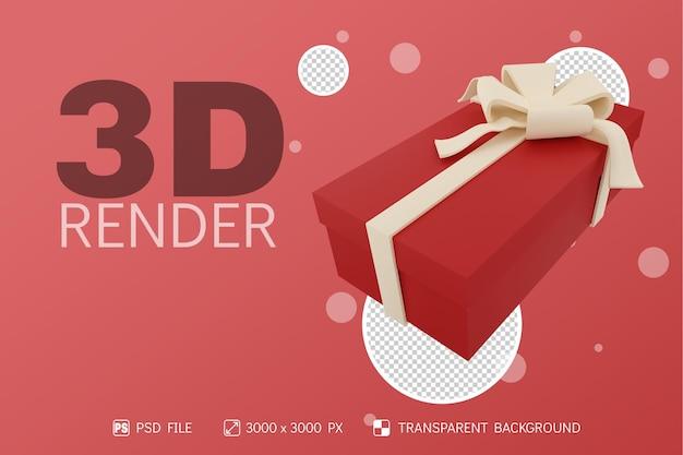 3d render long gift box et ruban blanc avec fond isolé