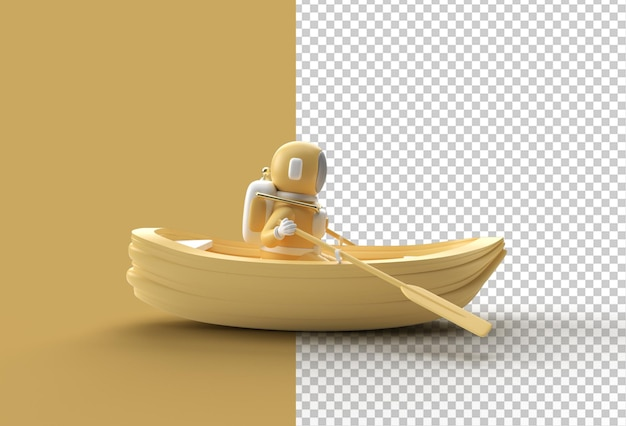3d render of a astronaut fun on boat