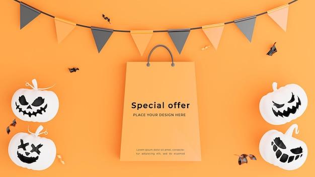 3d render of shopping bag avec concept shopping halloween