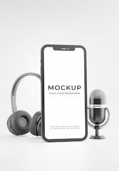 3d render of smartphone microphone casque avec maquette de concept de padcast