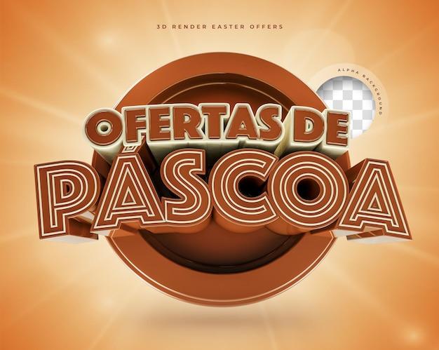 3d render offres de pâques réalistes en brésilien