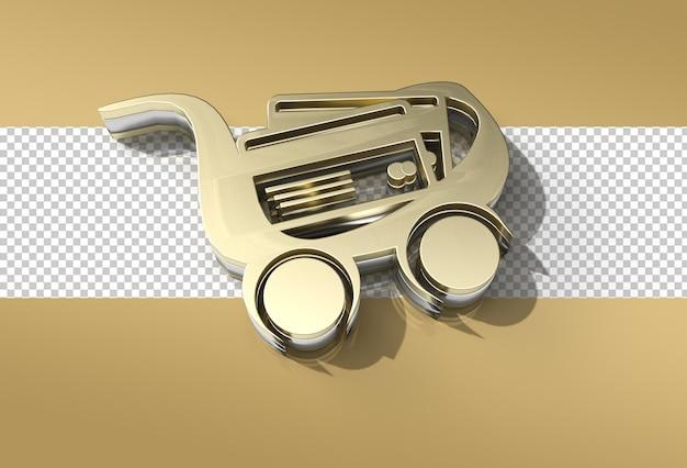 3d render shopping cart icon illustration design fichier psd transparent.