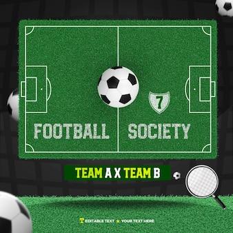 3d, render, société, football, à, champ, et, balle, équipe