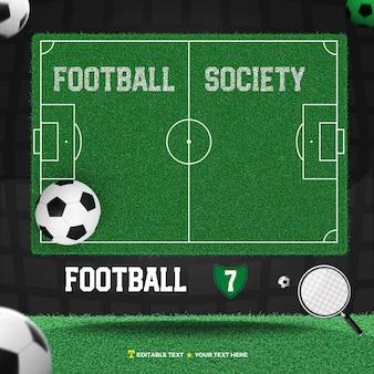 3d, render, société, football, à, champ, et, balle
