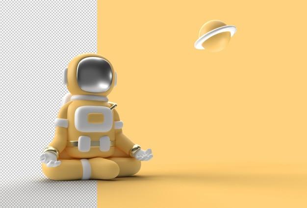 3d render spaceman astronaut yoga gestes fichier psd transparent.