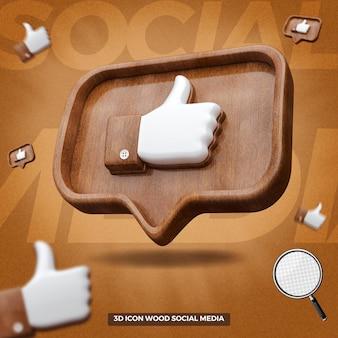 3d rendu comme l'icône facebook dans le message de ballon en bois droit