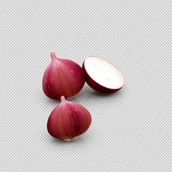 3d rendu isométrique d'oignons