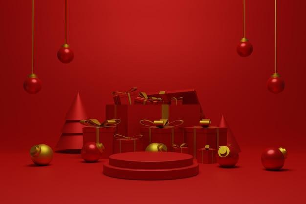 3d rendu podium rouge noël pour l'affichage du produit