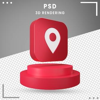 3d, rotation, icône, emplacement rouge, isolé