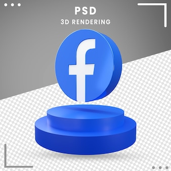 3d, rotation, icône, facebook, isolé