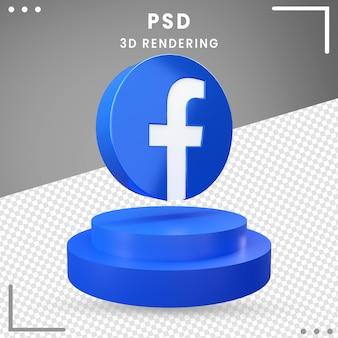 3d, rotation, icône, logo, facebook, isolé