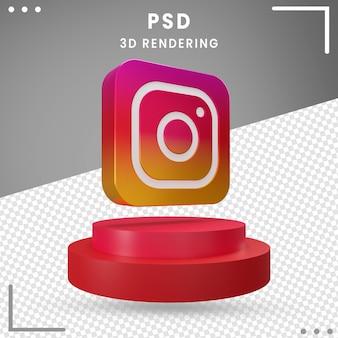 3d, rotation, icône, logo, instagram, isolé