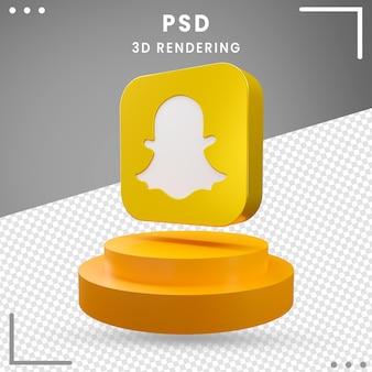 3d, rotation, icône, logo, snapchat