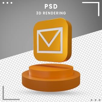 3d, rotation, icône, message, isolé
