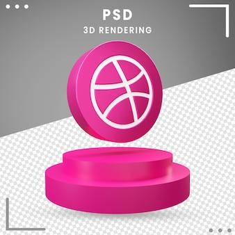 3d, rotation, logo, icône, dribbble, isolé