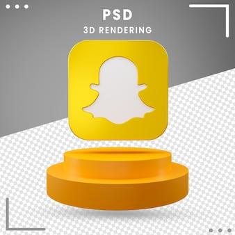 3d, rotation, logo, icône, snapchat