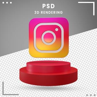 3d, rotation, logo, instagram, isolé