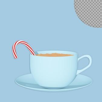 3d tasse de café au chocolat de noël avec la conception de rendu de bonbons isolés