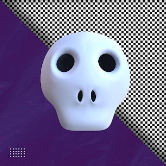 3d tête crâne illustration hallowen psd premium