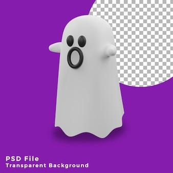 3d tissu blanc fantôme halloween actifs icône design illustration haute qualité