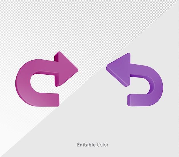 3d undo redo symbole ou icon bundle pack modèle psd avec couleur modifiable
