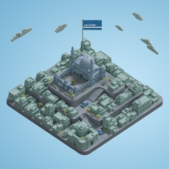 3d villes paysage bâtiments miniature