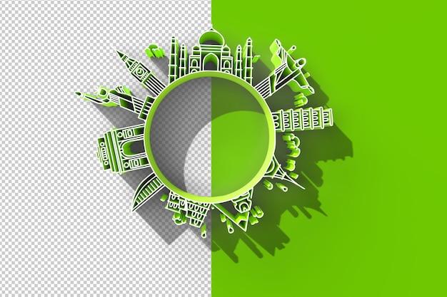 3dtravel the world monument concept fichier psd transparent.