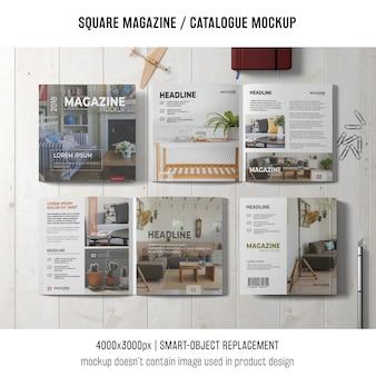 4 maquettes de magazines ou de catalogues carrés