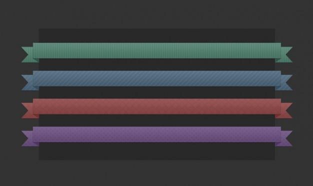 4 rubans de couleur psd