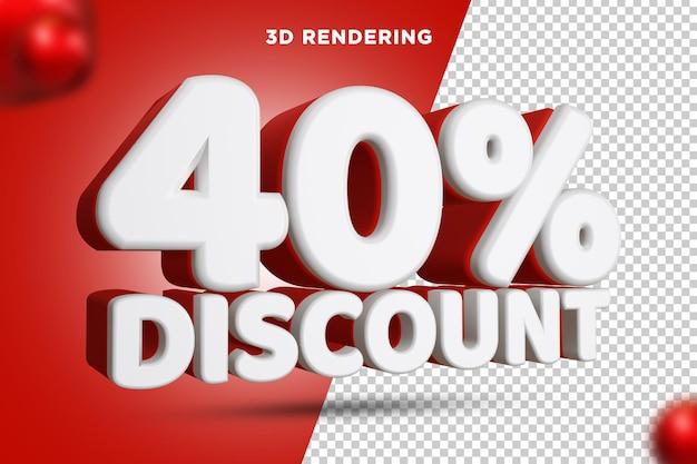 40 pour cent de réduction rendu 3d composition de texte fond alpha psd
