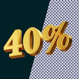 40 pour cent signe rendu 3d isolé