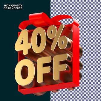 40 % de réduction sur l'emballage de texte avec un ruban rouge rendu 3d concept isolé pour la promotion