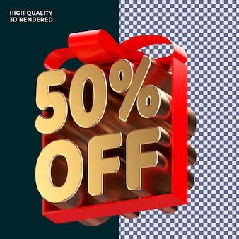 50 pour cent de réduction sur l'emballage de texte avec un ruban rouge rendu 3d concept isolé pour la promotion