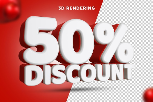 50 pour cent de réduction rendu 3d composition de texte fond alpha psd