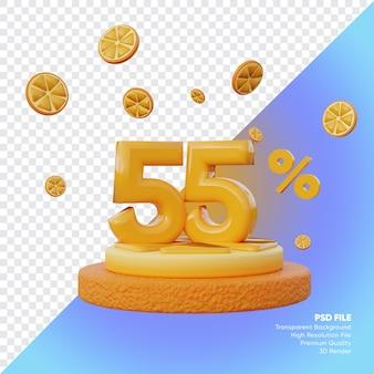 55% concept de vente d'été avec rendu 3d du podium orange tranche