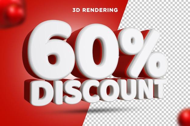 60 pour cent de réduction rendu 3d composition de texte fond alpha psd