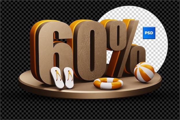 60 pour cent de réduction de vente d'été 3d badge isolé
