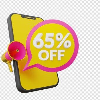 65 pour cent de réduction sur le modèle de bannière promotionnelle des soldes d'été