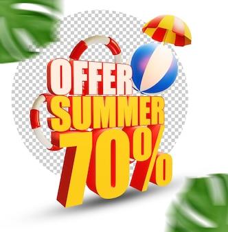 70 pour cent d'été offre style de texte 3d isolé