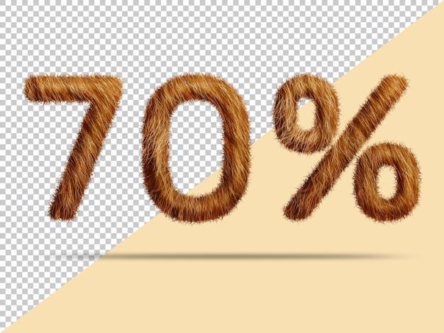 70 pour cent avec de la fourrure 3d réaliste