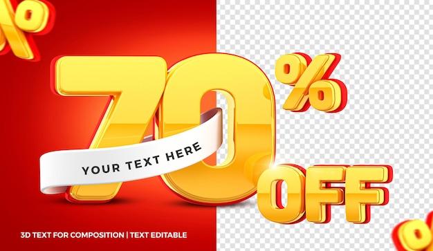 70 pour cent d'offre en rendu 3d isolé