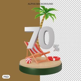 70 pour cent de réduction d'été offre un rendu 3d