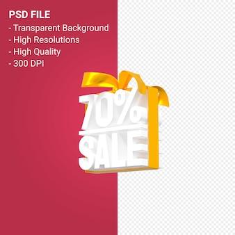 70 pour cent de vente avec arc et ruban design 3d isolé