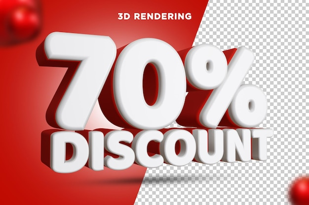 70 % de réduction rendu 3d composition de texte alpha background psd