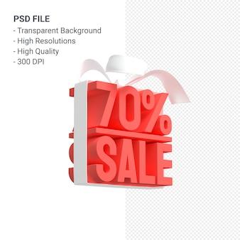 70% de vente avec arc et ruban design 3d isolé