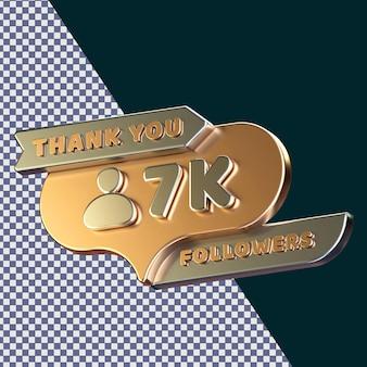 7k adeptes rendu 3d concept isolé avec une texture métallique dorée réaliste