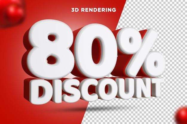 80% de réduction rendu 3d composition de texte alpha background psd